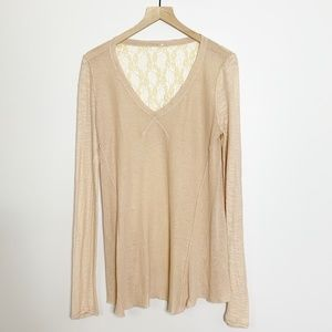 Anthropologie V-Neck Sweater Semi-Sheer Lace Back